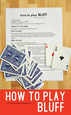 An easy card game that kids can play and perfect for the family - learn how to play BLUFF with printable rules. Family Card Games, Fun Card Games, Card Games For Kids, Playing Card Games, Dice Games, Activity Games, Math Games, Games To Play, Articulation Activities