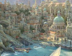Vista detail by Sasha Beliaev Fantasy City Map, Fantasy Town, Fantasy Castle, Fantasy Places, High Fantasy, Fantasy World, Fantasy Art Landscapes, Fantasy Landscape, Landscape Art