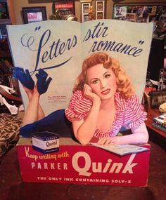 A personal favorite from my Etsy shop https://www.etsy.com/listing/249103332/rare-1940s-parker-quink-ink-cardboard
