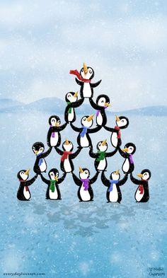 oh penguin tree #penguins #illustration #xmas