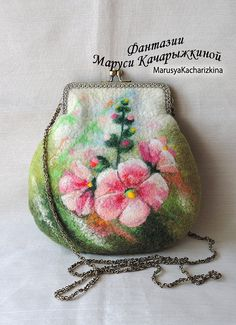 Handmade felted purse, wool purse, cosmetics bag, pouch, case, crossbody bag, purse with flowers