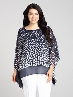 Laura Plus | Dot Print Chiffon Overlay Tunic with Tank - Blue Pattern