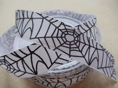 Halloween Black spider webs printed on white 7/8  by IsamayDesigns, $1.55