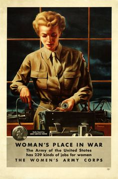 """""""Woman's Place in War""""—Radio Reparing, a poster for the Women's Army Corps"""