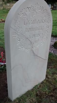 Headstone in York sandstone, carved by Oxfordshire stonemason Bernard Johnson Heritage Crafts, Linen Tshirts, Graveyards, Letter Art, Stone Carving, Trust, Sculptures, Artisan, Babies