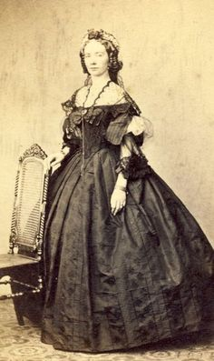 The style of the gown is lovely. c. 1860s.