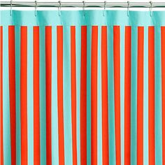 barque striped shower curtain in shower curtains   CB2. Shower curtain for kids' bathroom?