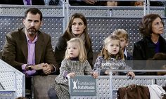 Prince Felipe and Princess Letizia with daughters (L-R) Princess Sofia and Princess Leonor, Miguel Urdangarin and Queen Sofia attend Rafael Nadal and Roger Federer's charity match at La Caja Magica on December 22, 2010 in Madrid, Spain.