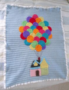 """Happiness is Homegrown: """"Up"""" Inspired baby afghan"""