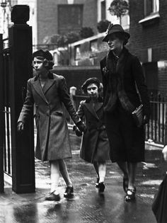 Princess Elizabeth and her sister Princess Margaret with their nanny Miss Marion Crawford leaving the headquarters of the YWCA (Young Women's Christian Association) in London, 1939