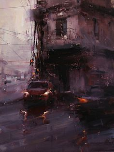 Tibor Nagy (Rimavská Sobota, Slovakia) - A Red Glimpse, 2013 Paintings: Oil on Linen Urban Landscape, Landscape Art, Landscape Paintings, Landscapes, Palais Galliera, Art Graphique, Nocturne, Painting Inspiration, Impressionism