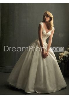 Gorgeous V-neck Ball Gown Lace Capped-Sleeve Wedding Dresses WD-11045