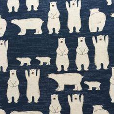 Polar bears on navy canvas