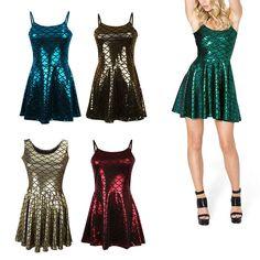 5e0c8534a918 Ladies Sexy Fish Scale Mermaid Print Shiny Short Mini Skirt Dress Metallic  UK