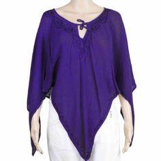 Vêtement d'été fait main en Inde - top poncho bleu 100% tissu de rayonne: Amazon.fr: Vêtements et accessoires
