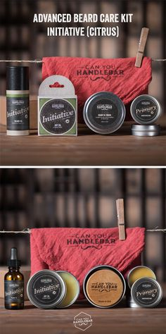 The Can You Handlebar Advanced Beard Kits lets you try most of our products at a discounted price. Included in the Advanced Beard Care Kit is: Primary Moustache Wax, Secondary Moustache Wax, a tin of Beard Dry Oil, a bottle of Beard Oil, the Can You Handlebar Beard Oil Brush™, and a Can You Handlebar Shop Rag. These make perfect gifts as well! Available in all four of our scents. Come get a closer look!
