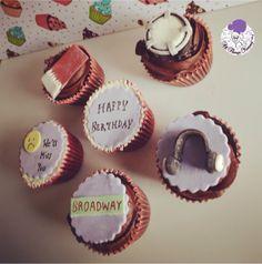 Saying goodbye with cupcakes :) #atyummy #cupcakes #customised #customisedcupcakes #cuppies #headphones #qatarflag #flag #drum #broadway #sadsmiley #bose #boseheadphones #birthday #chocolatecupcakes #birthdaycupcakes #purple #theme #themecupcakes #desserts #bakedwithlove