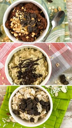 """Enjoy """"candy"""" for breakfast with these 3 oatmeals inspired by Snickers, Peanut Butter Cup, and Almond Joy."""