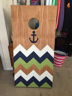 Cornhole boards I painted! #cornhole #anchor #chevron