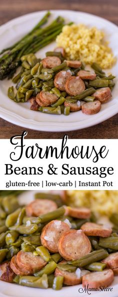 Farmhouse Beans & Sausage - A delicious, comfort meal made in just minutes using an Instant Pot. Gluten-free, Low-carb, THM-S