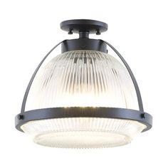 DVI Lighting DVP11311GR-CL LaSalle 14-in Semi Flush Ceiling Light