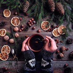 Флэтлэй, flatlay, кофе, чай, новый год, декор, руки