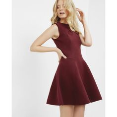 Ted Baker Sleeveless A-line dress ($185) ❤ liked on Polyvore featuring dresses, maroon, maroon dress, a line shape dress, red dress, red sleeveless dress and round neck sleeveless dress