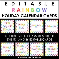 Rainbow Holiday Calendar Cards by Cyr's Gears Teacher Calendar, Classroom Calendar, Holiday Calendar, Holiday Dates, School Events, Comic Sans, Teacher Newsletter, Teacher Pay Teachers, Gears