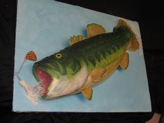 Bass Fish Cake by Sarah Miller at Classic Cakes in Carmel, IN - Only the fins and the lure are fondant. The rest of the fish is buttercream. Bass Fishing Shirts, Fishing Rod, Fishing Cakes, Fishing Pliers, Surf Fishing, Ice Fishing, Fishing Tackle, Fishing Boats, Bass Fish Cake