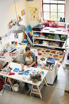multiple project tables #creativespaces #craftrooms #homedecor #office