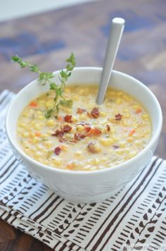 corn chowder with potato bacon and thyme, yum!