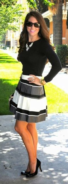 Great proportions - fitted top with fuller skirt. Do not like the skirt pattern, would prefer something less bold/chunky
