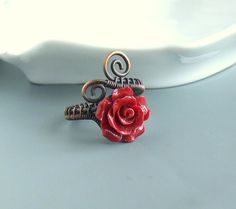 Red rose ring copper ring antiqued romantic ring rustic handmade Valentine jewelry