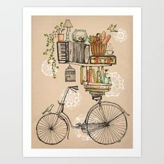 bicycle, flower, nature, books...