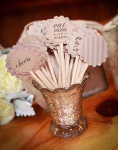Super cute stir sticks. This whole wedding is so cute!