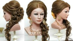 Wedding hairstyle with curls for long hair tutorial