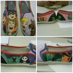 Handmade Scooby Doo cartoon shoes by TwinStudios on Etsy Cartoon Shoes, Scooby Snacks, Cartoon Tv Shows, Fabric Markers, Hand Painted Shoes, Design Girl, Mutant Ninja, Teenage Mutant, Disney Movies