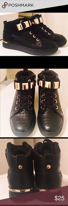 Also Choilla Sneakers - Like new condition Aldo Choilla Sneakers - Black. Gold metal ornament belt. Lace up. Round toe. Aldo Shoes Sneakers