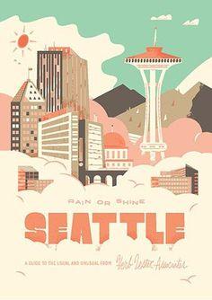Seattle Rain or Shine -- Herb Lester - Check out Travel Arsenal's latest Copenhagen Map, Seattle Rain, Voyage Usa, Enjoy The Ride, Travel Illustration, Design Graphique, Vintage Travel Posters, Retro Posters, Illustrations