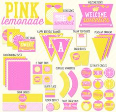Pink Lemonade Party PRINTABLE Birthday by Love The Day