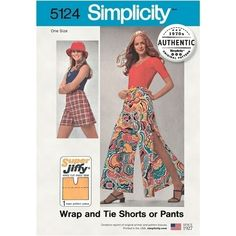 Misses Super Jiffy Wrap Tie Shorts or Trousers Simplicity Sewing Pattern 5124. Size S-M.