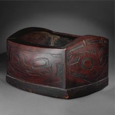 """Bent Corner Bowl 14.5""""x8.875"""" sold at Sotheby - estimate 15k-20k, sold for 56,250 - auction house could only attribute to either Tlingit or Haida"""