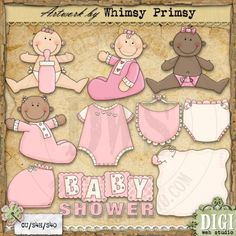 Baby Shower Girls 1 - Whimsy Primsy Clip Art Download