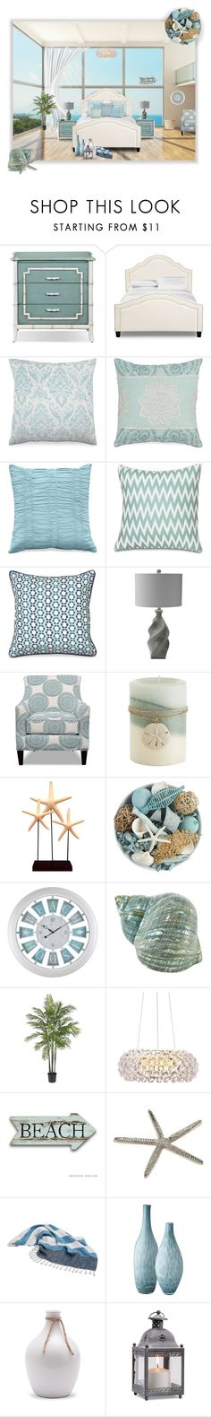 Beachy Bedroom by amsigfurniture on Polyvore featuring interior, interiors, interior design, home, home decor, interior decorating, Pier 1 Imports, Nearly Natural, Lazy Susan and Indego Africa