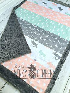 Minky Baby Blanket - Briar Moose Faux Quilt - Designer Minky - Grey