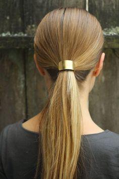 minimalist brass hair slide pony tail holder large hair