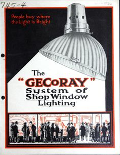 "GECoRay shop window lighting.   Display window lighting allowed a merchant to extend advertising into the night. These ""reflectors"" put the light onto the display features.  From the Canadian Centre for Architectural collection on the APT Building Technology Heritage Library.  This catalog comes from the collection of the Canadian Centre for Architecture."