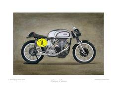 Manx Norton motorcycle print
