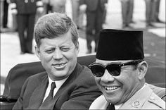 The first President of Republic Indonesia Mr. Soekarno and Mr. Jhon F. Keneddy President of USA