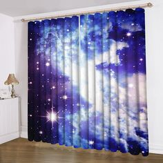 Galaxy Curtain New Printing Satin Blue Galaxy Curtain